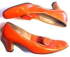 Citrus Orange Mod Patent Vinyl Shoes circa 1960s