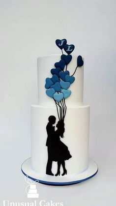 ~ CREATIVE CAKES ~ Couple silhouette holding bouquet of balloons cake design Cupcake Torte, Rodjendanske Torte, Gorgeous Cakes, Pretty Cakes, Cute Cakes, Unique Cakes, Creative Cakes, Unusual Wedding Cakes, Silhouette Cake