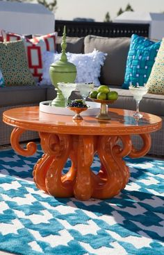Provoke a double-take or two with the leggy look of our David Bromstad Mykonos Octopus Table.