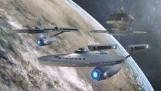 Asia class Starship with Enterprise.  Lil' Sis by Jetfreak-7