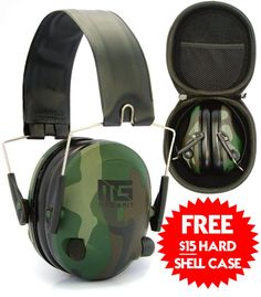 Mad Grit Electronic Ear Muffs For Shooting & Hunting Includes Hard She