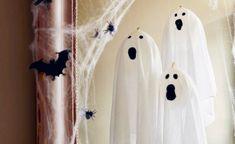 Diese schwebenden Gespenster sind schnell gemacht und verleihen dem Kinderzimmer unheimliche Stimmung zu Halloween