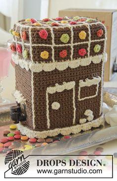 "DROPS Christmas: Crochet DROPS wine box cover in ""Paris"". DROPS design: Pattern no w-534 Yarn group C or A + A ~ DROPS Design"
