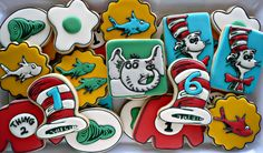 Dr. Seuss cookies for two brothers celebrating their birthdays together.