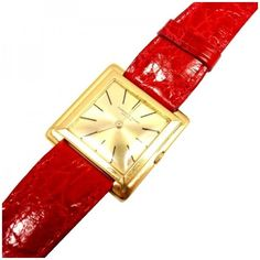 Pre-owned Audemars Piguet 18K Gold Thin Square Case Watch (22,675 CNY) ❤ liked on Polyvore featuring jewelry, watches, gold watches, square watches, red gold jewelry, 18k gold jewelry and red jewelry