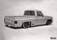 Hot Wheels - Spotted this rendering at , pretty bad ass, who's building this bad boy igers? 87 Chevy Truck, Custom Chevy Trucks, Classic Chevy Trucks, Chevy Pickups, Bagged Trucks, Lowered Trucks, C10 Trucks, Pickup Trucks, Lowrider Trucks