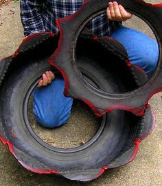easy instructions to make tire planters and ideas for what to do with the cutout piece (my favorites are those with the rim still intact and used as a pedestal...I want to try this.)