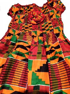 Girls Kente Print Dress