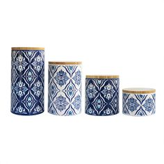 Add both functionality and style to your kitchen with this set of canister from American Atelier. Ideal for storing any dry food and goods, this artistic canister set is made of earthenware and will complete your kitchen.