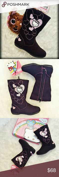 NIB Hello Kitty Baby Girl 6 Pink Heart Zip Boots Just listed! Simply adorable baby/toddler girls size 6 medium Hello Kitty Brown and pink boots. Featuring a Brown suede-like material as well as pink sparkly and embroidered hearts with hello Kitty at the center of it all. Perfect boots for your little fashionista. They could not be cuter! Brand new in the box. Hello Kitty Shoes Boots