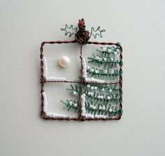 wire wrapped snowy winter christmas tree window pendant with moon & holly