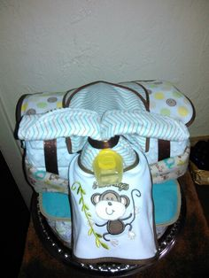 Tricycle diaper cake for baby boy