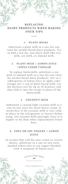 Dairy Replacement Guide for Baking Vegan and Plant Based