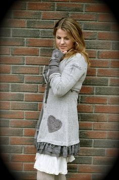 Like this... or some version.  thinking of my grey wool sweater.  love the heart pocket reminder.
