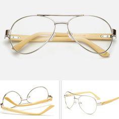 e21fe1c31ee pilot handmade sliver bamboo glasses frame plain lens for women and men