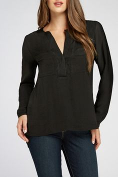 Ora Two Pocket Woven Blouse in black has long sleeves and a v-neck both feature button closures. Pair this woven blouse with white crop pants or bermudas and add a floral clutch to finish this spring look! Care for your blouse: Hand wash cold and line dry.  Two Pocket Blouse by Bobeau. Clothing - Tops - Blouses & Shirts Kentucky