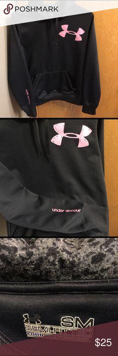 Under Armour Black Hoodie Under Armour Black Hoodie w/ pink emblem. Under Armour Tops Sweatshirts & Hoodies