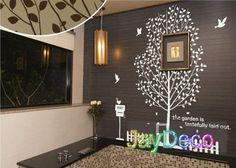 New Vinyl Tree Wall Decals Tree Removable Wall Stickers Decal Home Decor Tree Birds Post Fence - 71  Inches (H) x 75 inches (W) on Etsy, $52.65 CAD