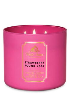 Shop Strawberry Pound Cake Candle at Bath And Body Works! Fill your home with the most irresistible, beautiful fragrance today. 3 Wick Candles, White Candles, Diy Candles, Scented Candles, Bathroom Candles, Homemade Candles, Luxury Candles, Candle Jars, Bath Body Works