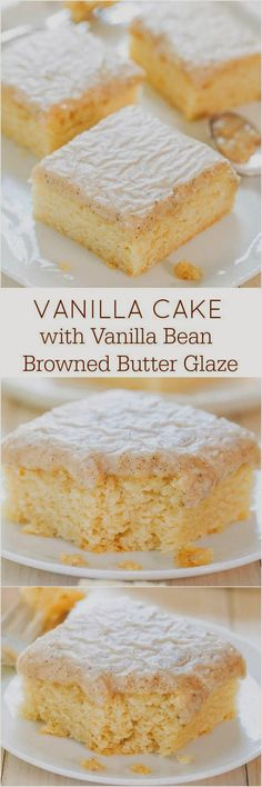 Vanilla Cake with Vanilla Bean Browned Butter Glaze - You won't miss chocolate at all after trying this cake! The glaze is just heavenly!!!  Pin It http://www.pinterest.com/pin/211598882467534141/  Recipe http://www.averiecooks.com/2014/09/vanilla-cake-with-vanilla-bean-browned-butter-glaze.html  cake, vanilla cake, white cake, vanilla, vanilla beans, vanilla glaze, browned butter, brown butter, desserts, buttermilk cake