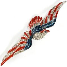 Trifari 'Alfred Philippe' US Patriotic Large Flying American Eagle Pin