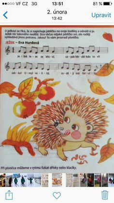 Ježek Kids Songs, Drake, Crafts For Kids, Preschool, Scrappy Quilts, Sheet Music, Fall, Crafts For Children, Children Songs