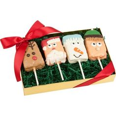 Christmas Crispy Rice Barsare a perfect treat for the Holidays! Hand-dipped in Gourmet Guittard™Confections, our Crispy Rice Barsare hand-decorated to look l