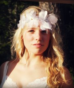 white flower headband bridal sash flower crown by Beyondaveil, $124.00