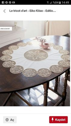 Crochet Doily Table Runner, made using 24 assorted size doilies stitched together Crochet Cross, Crochet Home, Filet Crochet, Crochet Motif, Crochet Designs, Crochet Doilies, Crochet Table Runner, Crochet Tablecloth, How To Make Placemats