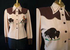 Rockin 1940's / 1950's rayon gabardine brown by wearitagain, $295.00