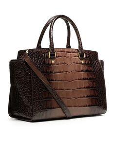 3d0a6dd1f0266 Michael Kors Selma Large Top Zip Satchel Brown Crocodile Leather