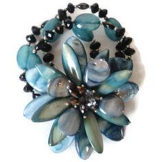 Vintage Art Glass And Aurora Borealis Rhinestone  Flower Stretch Bracelet by EraAntiquesandFinds on Etsy