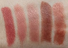 Milani Color Statement lipstick.  Naturally Chic, Nude Creme, Dulce Caramelo, Teddy Bare, Candied Toffees