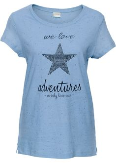 Zauberhaftes blaues Shirt der Marke BODYFLIRT mit glitzernden Sternen an der Vorderseite. Länge in Gr.