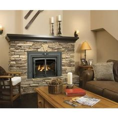 Fireplace: stone and gas insert. Replace black mantle with barn beam! Gas Stove Fireplace, Fireplace Stores, Basement Fireplace, Fireplace Hearth, Fireplace Inserts, Fireplace Mantle, Fireplace Design, Stone Mantle, Cozy Basement