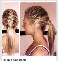 This is a good sporty hairstyle for those who have to pull their hair back.