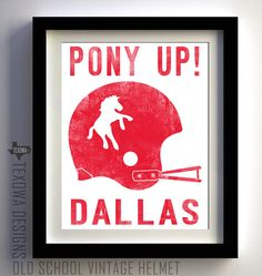 1963-1966 Dallas, Texas - Vintage Style Football Helmet Art Print on Etsy, $25.00