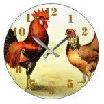 Rustic Country Rooster Elegant Large Clock The Rustic Clock