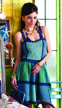 "Vogue Knitting's special crochet issue described this dress pattern by Sandi Prosser as ""dirndl-inspired,"" but I think it owes more than a little to Moschino"