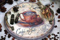 """Купить Поднос """"Cafe a Paris"""" - поднос, ручная работа, поднос декупаж, деревянный поднос"""