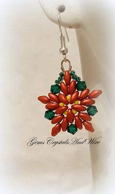 Poinsettia Earrings Christmas Jewelry by GemsCrystalsAndWire