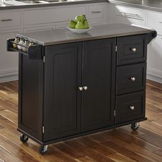 sundance kitchen cart with stainless steel top, black | there