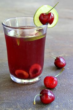 Cherry- Limeade Sangria Cocktail Recipe - RecipeGirl.com