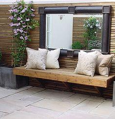 Love the big outdoor mirror Garden Seating, Outdoor Seating, Outdoor Rooms, Outdoor Gardens, Outdoor Living, Outdoor Decor, Farm Gardens, Garden Mirrors, Mirrors In Gardens