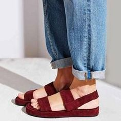 #Valentines #AdoreWe #Shoespie - #Shoespie Shoespie Burgundy Strappy Open Toe Platform Flat Sandals - AdoreWe.com