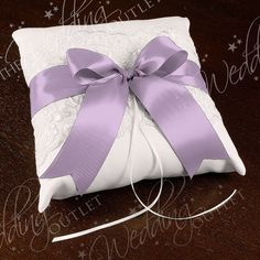 Chantilly Lace Custom Ring Bearer Pillow {White with Lavender Ribbon}