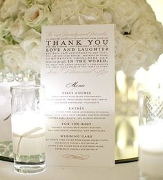 Beautiful Wedding Menu love the Thank you note at top