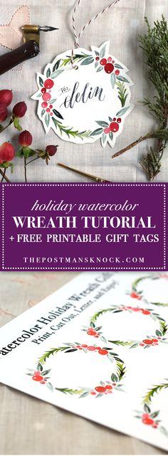 Watercolor Holiday Wreath Tutorial + Free Printable