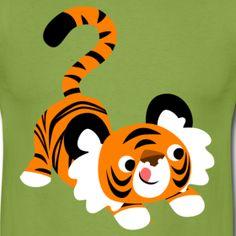 Pouncing cartoon tiger