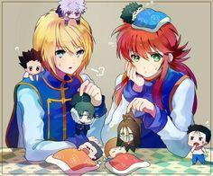 Tags: Anime, 13knight, Yu Yu Hakusho, Hunter x Hunter, Kurapika, Kurama, Black Background, Rose Petals, Waist Up